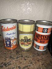 Lot of 3 flattop beer cans Edelweiss Western Beer Gluek Minnesota Nice Lot Of 3