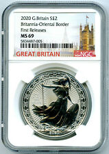 2020 GREAT BRITAIN 1OZ SILVER NGC MS69 BRITANNIA ORIENTAL BORDER FIRST RELEASES