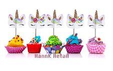 Kapoklife 1 11 48 Rainbow Cupcake Picks Double Sided Unicorn Cake Toppers with