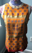 CELINE-WOMEN SLEEVELESS SWEATER-SILK/COTTON-ORANGE/IVORY-SMALL-MINT CONDITION!
