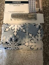 Snowflake Shower Curtain With Hooks And Bathroom Rug