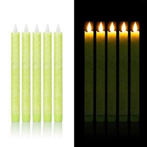 5er Set LED Stabkerzen Tafelkerzen aus Echtwachs, inkl Timer, Grün marmoriert