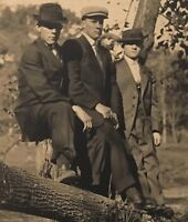 Real Photo Postcard RPPC ~ Three Dapper Young Men Sitting In A Tree ~ Buddies