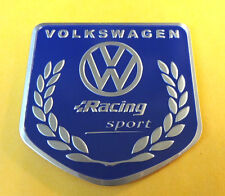 Brushed Aluminium VW Volkswagen Racing Sport Car badge finished in BLUE