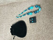 Ladies greenish blue Necklace And pierced Earrings