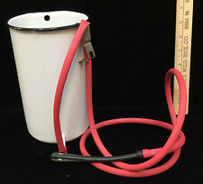 "Enamel Pail Bucket w Rubber Hose & Enema Douche End White Vintage 8"" Enamelware"