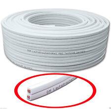 50m Lautsprecherkabel Audio Kabel Boxenkabel 2x2,5mm² CCA rechteckig weiß