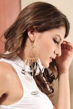 LADIES White Feather Earrings With Color Rhinestones Tassels