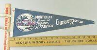 VTG Felt Pennant Historical Rare 1950s Monticello Charlottesville Virginia