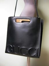 $2490 Gucci AUTH NWT Oversized Embossed Logo XL Tote Bag 409378 CVL20 Black