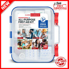 First Aid Kit Professional + All Purpose 351Pcs Survival, Camping, Hiking & More