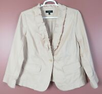 CJ0955- NEW TALBOTS Women 98% Cotton Jacket Ruffle Trim Dusty Champaign Pink 14W
