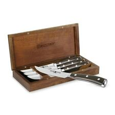 "Wusthof Ikon Blackwood 4pc 4.5"" Steak Knife Set with Walnut Case"