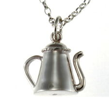 "Sterling Silver Tea Coffee Pot Pendant Necklace with 18"" Chain & Gift Box"