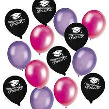 Laurea Elio Palloncini Party Pack Stampato Nero Tinta Unita Rosa Viola Decorazione