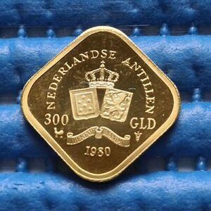 1980 Nederlandse Antillen 300 Gld Juliana Regina 1948-1980 Gold Coin AGW=4.536g