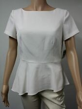 NEW - Anne Klein - Size 6 - Short-Sleeve Peplum Ivory Top - Natural - $99