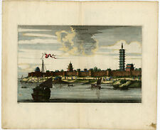 Antique Print-Kinnungam-Pagoda-Sh ip-China-Coloured-Nieuhof- 1665