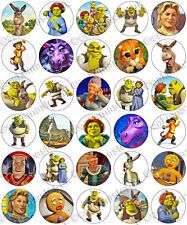 30 x Shrek Fiona Donkey & Puss Party Edible Rice Wafer Paper Cupcake Toppers