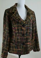 Dialogue~Women's Plus Size 20W~Multi Color Tweed Fully Lined Wool Blend Blazer.