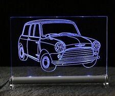 MINI cooper als  AutoGravur auf LED-Leuchtschild  rover