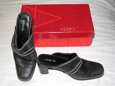 Aerosoles Houston 7.5 M Black Leather Stacked Heel Mule Slides Slip On in Box