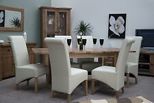 Tilson solid oak furniture extending dining table and six leather chairs set