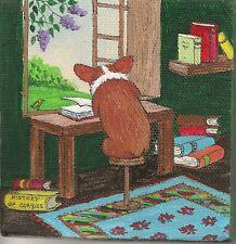 4X4 Print Of Painting Folk Art Ryta Pembroke Welsh Corgi Illustration Literature