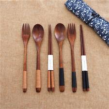 Wooden Long Handle Spoon Fork Cooking Soup Teaspoon Chopsticks Tableware Utensil