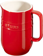 Set Of 2 Staub Ceramic Jug Carafe round Cherry red 1L Dishwasher