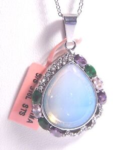 "Opalite, Multi-color Glass, Wh Austrian Crystal Pendant w/20"" StainChain #JN1130"
