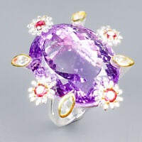 Handmade SET48ct+ Natural Amethyst 925 Sterling Silver Ring Size 8/R121733