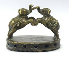Antique Brass Two Elephant Figurative Foot Scrubber Rare collectible G54-13 US