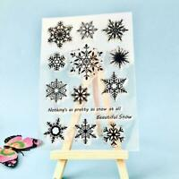 Snowflake Transparent Silicone Clear Rubber Stamp Cling Diary Scrapbooking. D7Y8