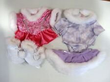 Build A Bear clothes 2 ice skating outfits 1 hot pink & 1 lavender 2pc & skates