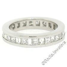Platinum 1.45ctw Channel Princess & Baguette Cut Diamond Eternity Band Ring S4.5