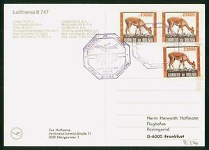 Mayfairstamps Bolivia Flight La Paz to Frankfurt Fawn Block Postcard wwr_01363