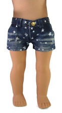 Doll Clothes fits American Girl Trendy Star Print Denim Shorts Accessories