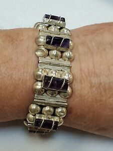 Vintage 980 Silver Old Taxco Mexico Amethyst Bracelet Box Clasp