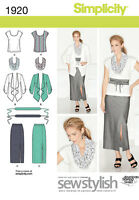 Simplicity 1920 Sewing Pattern Skirt Top Jacket Scarf Misses 10-18 Plus 20W-28W