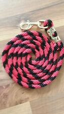 Horse Nylon poly round Lead Rope 80 inches with brass Swivel Snap black