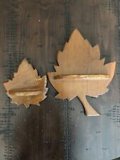 Vintage PAIR Solid Wood Maple Leaf Wall Shelves Cabin Lodge Farmhouse Decor
