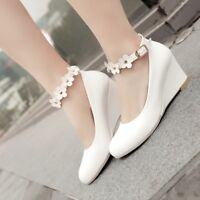 Womens Buckle Wedge Heels Pumps Ankle Strap Solid Round Toe Mary Jane Shoes Prom