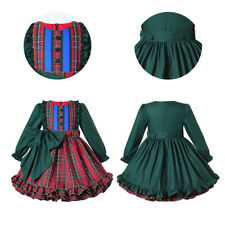 Toddler Girls Plaid Dresses Christmas Tartan Party Dress Formal Outfits Green US