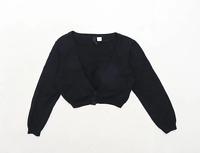 H&M Womens Size 8 Cotton Black Cropped Cardigan (Regular)