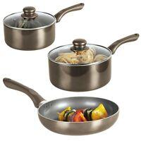 3 Piece Metallic Cermalon Ceramic Induction Cooking Frying Pan Pots Cookware Set