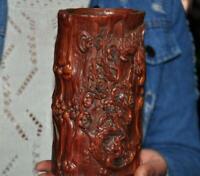 Chinese Boxwood wood Carved Plum blossom bird calligraphy Brush pot pencil vase
