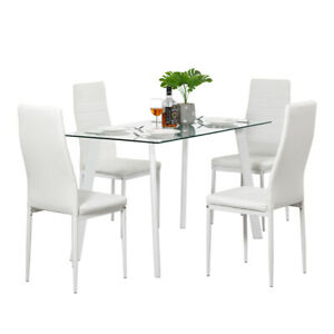 5 Piece Dining Table Set 4 Chairs Glass Metal Kitchen Room Furniture White New