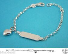 925 Sterling Silver small Heart Charm ID Bracelet Baby Child Newborn Holy GIFT N