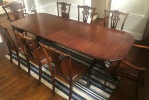 Antique English Regency Dining Table and Chippendale Chairs